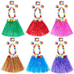 Wholesale hawaiian skirt sets resale online - Kids Hawaiian Grass Skirt Garland Headband Hula Fancy Skirt Set cm Party Festival Decor Performing Clothes