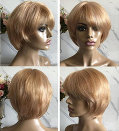 $enCountryForm.capitalKeyWord Australia - Celebrity Wig Lace Front Wigs Short Cut PiXie Style Blond Hair Brazilian Virgin Human Hair Full Lace Wig for Black Woman Free Shipping