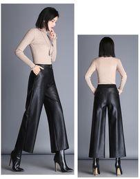 $enCountryForm.capitalKeyWord Australia - Autumn 2019 Pu Leather Wide Leg Pants Women Black Elastic Bottoms For Female Loose Ankle Length Points Trousers Ladies Gh367