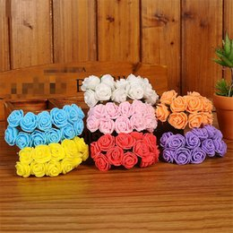 $enCountryForm.capitalKeyWord NZ - 120pcs 2cm Mini Foam Rose Artificial Flowers For Home Wedding Decorations Diy Pompom Wreath Decorative Bridal Flower Fake Flower
