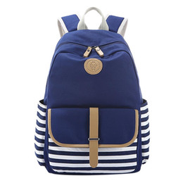 $enCountryForm.capitalKeyWord UK - Women's Stripe Stitching Canvas Schoolbag Casual Backpack Computer Bag Travelling Satchel fashion solid zipper ZK30