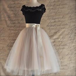 $enCountryForm.capitalKeyWord Australia - 26 Colors 5 Layered 65cm Knee Length Tulle Skirt Tutu Women Skirt High Waist Pleated Skirt Cosplay Petticoat Elastic Belt Faldas MX190731