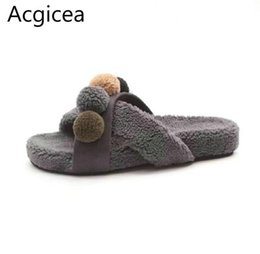Ladies Soft Canvas Shoes Australia - Nice Autumn Pop Soft Platform Heels Women Slippers Indoor Sweet Leisure Shoes Woman For Home Faux Fur Spring Slippers For Lady