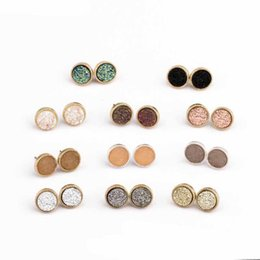 druzy crystals UK - Kendra Druzy Drusy Earrings Scott Gold Plated Hexagon Round Geometry Stone Kate Stud Earrings Christmas gifts Ear Studs