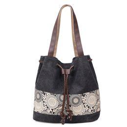 $enCountryForm.capitalKeyWord UK - Women Canvas Handbag Flower Printed Shoulder Handbag Female Large Capacity Ladies Beach Bag Women Canvas Tote Large Capacity Bag
