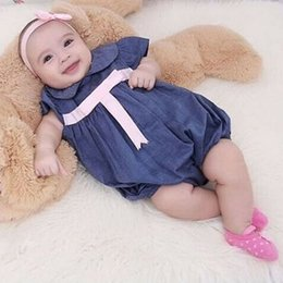 jumpsuit babies Australia - Fashion Baby Girl Casual Denim Jumpsuit Newborn Baby Girl Princess Bow-knot Bodysuit Headband Outfits Toddler Infant Bodysuit
