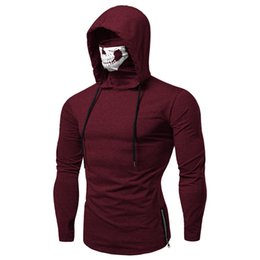 $enCountryForm.capitalKeyWord UK - Autumn Men Drawstring Zipper Skull Mask Hooded Sweatshirt Long Sleeve Hoodie Hip Hop Tops M-XXXL