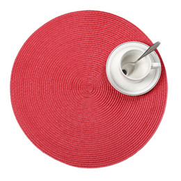 woven plastic UK - 4 Pcs lot Round Weave Placemat Fashion Pp Dining Mat Disc Pads Bowl Coasters Waterproof Table Cloth Pad 38cm Diameter Q190606