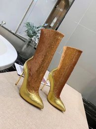 $enCountryForm.capitalKeyWord Australia - 2019 spring fall womens real leather sole gold Silver shiny Sequined embellished stretch Fabric Stiletto high heels pull on sex boots