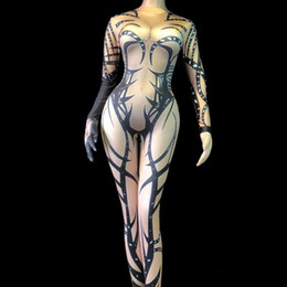 $enCountryForm.capitalKeyWord Australia - Female Pole Dancing Performance Costume Sexy Bar Dancer DJ DS Show Stage Wear 3D Printing Stretch Skinny Jumpsuit Spandex Leotard Bodysuits