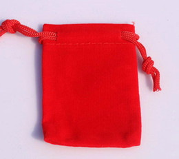 earring packaging bags UK - 3 Sizes velvet jewelry pouch gift present package red fit for necklace bracelet earring Christmas Bags