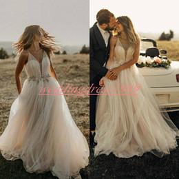 Custom made ball dresses online shopping - Romantic Beads Crystal V Neck Wedding Dresses Sheer Outdoor Spring A Line Plus Size Bridal Gown Vestido de novia Bride Ball Formal
