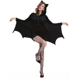 $enCountryForm.capitalKeyWord Australia - Bat Halloween Cosplay Costume 4xl Plus Size Adult Sexy Black Vampire Devil Kigurumi Jumpsuit Hooded Party Fancy Dress