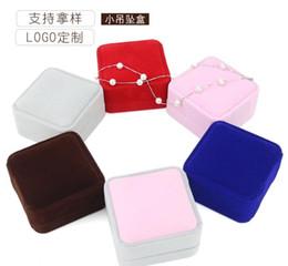 Velvet Box Packaging Australia - Velvet high-end jewelry gift box, velvet fabric packaging box necklace pendant ring gift box brooch box
