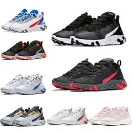white trainers for woman NZ - New react element 87 55 running shoes for men women Light Bone triple black white royal Solar red mens trainers sports sneakers runner1578#