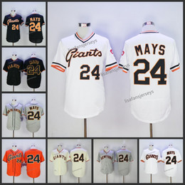 Wholesale Cheap Mens Willie Mays Home Away Road Embroidered Navy Blue White Gold Grey orange Stitched baseball jersey