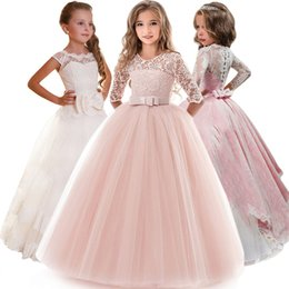 Easter Pageant Costumes Australia - Kids Bridesmaid Flower Girls Dresses For Party And Wedding Dress Girls Easter Costume Children Pageant Gown Girls Princess Dress Y190515