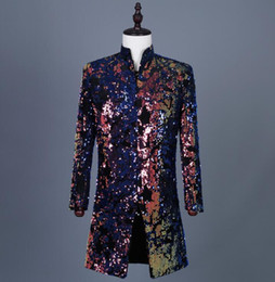 $enCountryForm.capitalKeyWord Australia - Hot sell Colorful printed flip sequins blazer men suits designs jacket mens stage singers clothes dance star style dress punk rock