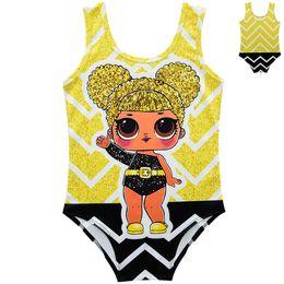 Swimming dollS online shopping - Kids Swimwear Doll Printed Summer Swimming Bathing Suit Baby Bikini Kids One Pieces Surprise Swimsuit Beach Clothing CCA11593