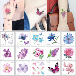 Tattoo Sticker For Hand Women Australia - Small Flower Tattoo Sticker Lotus Flower Arm Neck Hand Face Body Art Design for Woman Kid Butterfly Temporary Tattoo Transfer Paper Decal 3D