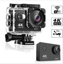 Großhandel Ultra HD 4K Sport Aktion Kamera 30m Wifi Wasserdichte Videokamera 16MP 1080P 2,0-Zoll-LCD-Helm-Nocken-Tauchrecorder