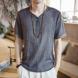 Wholesale suit chinese male resale online - Summer Men Cotton Linen Blouse Short Sleeve T Shirt Chinese Traditional Clothes Male Retro Hanfu Tang Suit Streetwear Tees Tops T200701
