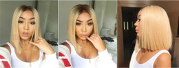 straight blonde wig roots 2019 - Straight 1b 613 Glueless Full Lace Wigs Remy Human Hair with Baby Hair Ombre 1B 613 Dark Roots Blonde for Black Women di