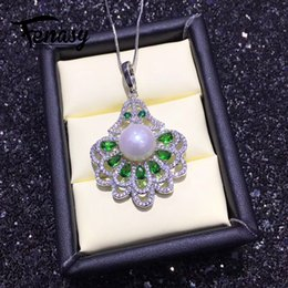 $enCountryForm.capitalKeyWord NZ - wholesale pearl jewelry natural Pearl pendant necklace for women 925 sterling silver chain necklace green stones party jewelry