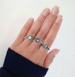 turkish rings Canada - 10 styles Vintage Silver Color Ring Sets Antique Midi Finger Rings for Women Steampunk Turkish Party Boho Knuckle Ring 02 ALXY02