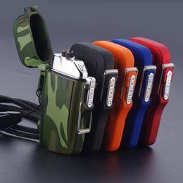 Venta al por mayor de Nuevo Colorido Impermeable USB Doble ARC Encendedor Linterna Antorcha Sling Cuerda Diseño Innovador Para Cigarrillo Bong Fumar Pipe Tool