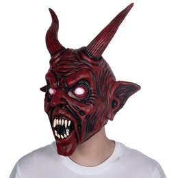 red devil mask 2020 - Scary Adult Costume Horn Mask Horror Party Cosplay Halloween Latex Scary Horns Red Devil Mask For Party Cosplay cheap re