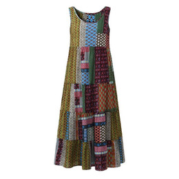 Bohemian Clothes Plus Size UK - Women 2019 Summer Long Beach Sundress Plus Size 5xl Casual Loose Sleeveless Patchwork Print Irregular Tank Dress Bohemian designer clothes