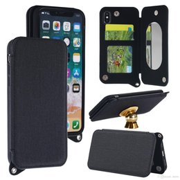 Pocket Mirrors For Wholesale Australia - New Canvas PU Leather Wallet Case with Mirror Card Slot Holder For iphone X 8 7 6s plus 5 SE Samsung Note8 s8 plus OPP Aicoo