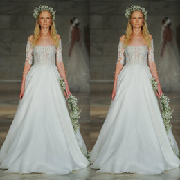 $enCountryForm.capitalKeyWord Australia - Reem Acra 2019 Wedding Dresses Lace Appliques Half Sleeve Tulle Bridal Gowns Sweep Train Beach A Line Wedding Dress robe de mariée