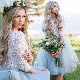 cheap white robes 2019 - 2019 summer beach Romantic A Line short Bridesmaid Dresses lace Applique Tulle boho Maid Of Honor Formal Party Dresses c