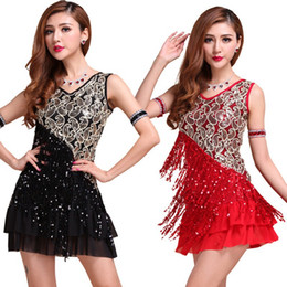 sequin fringe dance Australia - Elegant Women Night Club Party Latin Dance Dress Ballroom Salsa Sequins Fringe Skirts HotHM3