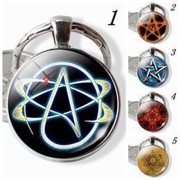 Symbols Light NZ - Atheist Symbol Key Chains, Atom Atheist Key Rings, Glass Dome Cabochon Silver Pendant, Scientists Gifts