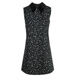 Black Lapel Sleeveless Zipper Australia - 2019 Summer new sequins lapel sleeveless star printing skirt