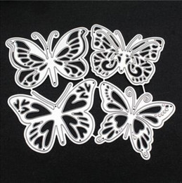 Gift packinG butterfly online shopping - 4pcs Pack Metal Cutting Dies Butterfly Background Frame DIY Scrapbooking Die Cuts Greeting Card Decor Embossing Folder Cut Xmas Gift