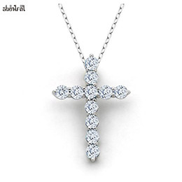 $enCountryForm.capitalKeyWord Australia - New Latin Cross Charm Necklace with Clear Zircon Elements Crystals Pendant Women's Round Sterling Silver Genuine Cross Necklace