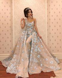 Quinceanera Dresses White Detachable Australia - Luxury Mermaid Evening Dresses With Detachable Train Beads Lace Appliqued Prom Gowns Elegant Formal Party Bridesmaid Pageant Dress
