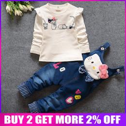 $enCountryForm.capitalKeyWord Australia - Bibicola Autumn Childern Girls Clothes Suit Baby Pink Denim Kids Kitty Cartoon Clothing Set Winter Underwear Infant Jeans Q190518