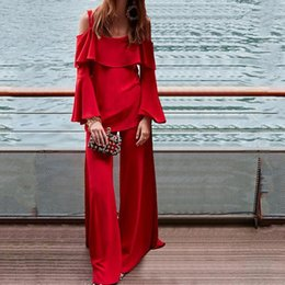$enCountryForm.capitalKeyWord Australia - Modern Two Pieces Evening Dresses Red Pure Color Off Shoulder Young Girls Pageant Dresses Women Formal Wear Pants Suits