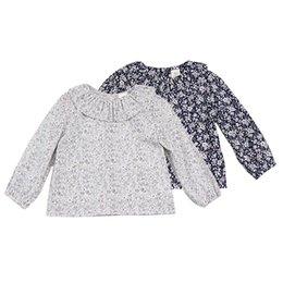 girls floral shirts Australia - Spring Sweet Child Lapel Shirt Floral Puff Sleeves Princess Beauty Shirt Baby Girls Long Sleeve Tops