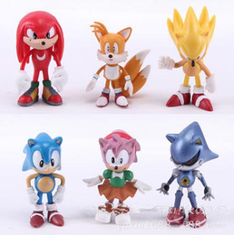 Wholesale Hedgehog Toys Australia - 6 pcs set Sonic Action Figure Toys the Hedgehog Boom Rare Shadow the Hedgehog Miles Prower Knuckles Echidna Cartoon pvc Figure Christmas 6cm