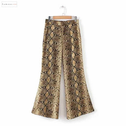 flared floral trousers Australia - Casual Elegant Snake Pants Print Flare Elastic Waist Pockets Pleated Mid Ladies Women Streetwear Stylish Trousers Mujer Ka289