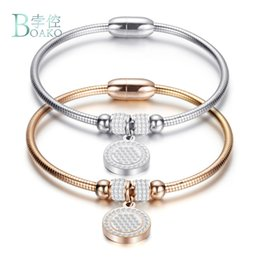 Wholesale BOAKO New High Crystal Quality Bracelet Bangles Coin Magnet Clasp With Snake Chain L Stainless Steel Wedding Bangles jewelry