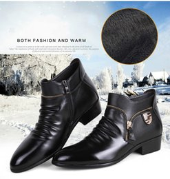 casual shoes luxury style Canada - Sycatree Winter Zipper Luxury Men's Casual Shoes Warm Cow Leather British Style Men Loafers Business Shoes Men Loafer