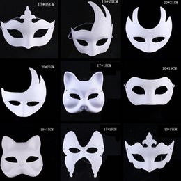 $enCountryForm.capitalKeyWord Australia - Fashion Makeup Dance White Masks Embryo Mould Painting Handmade Mask Pulp Festival Crown Halloween White Face Mask Toy TTA1542