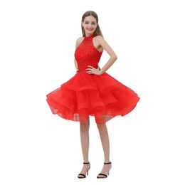 eye catching gowns UK - MB028 Eye-catching High Neck Sexy Back Mini Short Red Prom Dresses 2019 Puffy Tiered Skirt Short Dress for Prom Beaded Prom Dresses Cheap